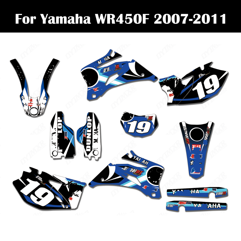 07-11 <font><b>WR450F</b></font> Free Customized Graphics <font><b>Stickers</b></font> Kits Background Decals Dirt Bike For <font><b>Yamaha</b></font> WR 450F 2007 2008 2009 2010 2011 image