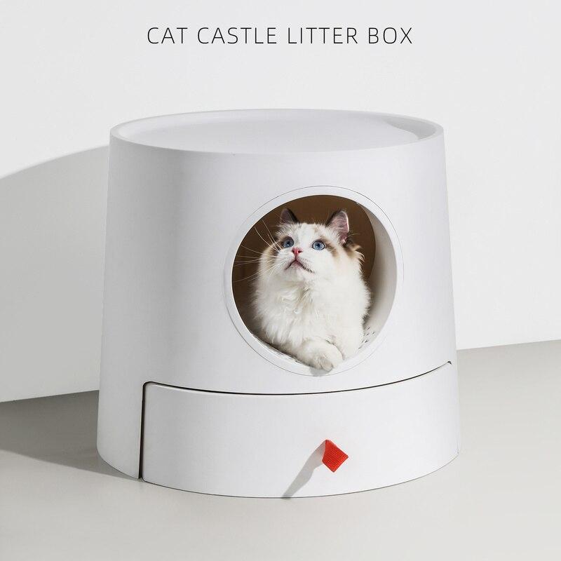 Caja de arena en forma de Castillo para gatos, dos piezas en un cajón, Arenero de inodoro para gatos, bandeja para suministros de mascotas|Areneros de gato| - AliExpress