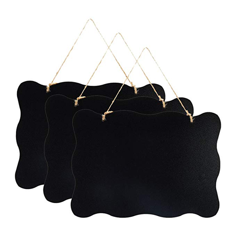 3Pcs Double Sided Hanging Chalkboard Signs Vintage Erasable Message Board With Hanging String For Wedding Kitchen Party 10X8Inch