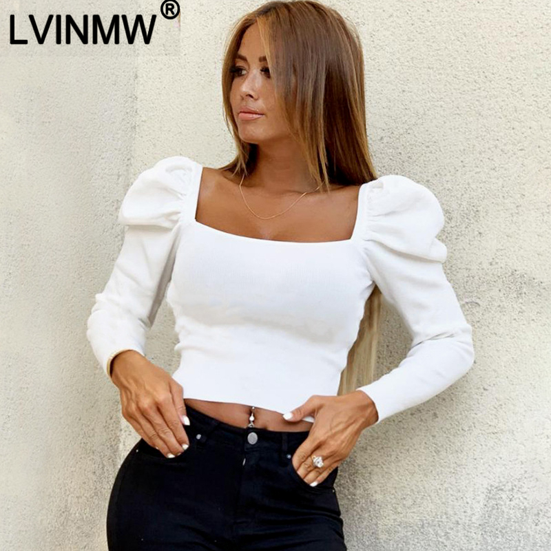 LVINMW Sexy Solid Square Neck Casual Slim Blouse 2019 Autumn Winter Women Puff Long Sleeve Slim Shirts Fashion Streetwear Tops