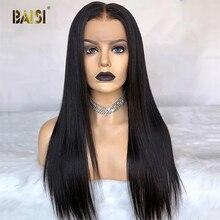 Невидимые прозрачные прямые парики BAISI из человеческих волос на сетке спереди, 13*6, предварительно выпрямленные волосы, человеческие волосы, парики на сетке спереди, парик из человеческих волос