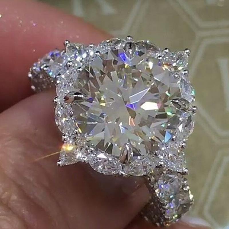 FDLK   2Pcs Bridal Set Elegant Rings for Women Wedding Engagement Fashion Jewelry With Full Shiny Cubic Zircon Female Ring