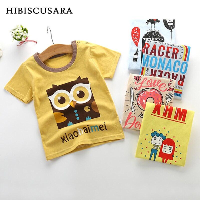 Baby Kids Summer T Shirt Boys Girls Cotton Short Sleeve Tee Tops Cartoon Printed Toddler Small Children T-shirts O-Collar
