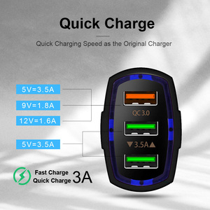 Image 2 - QGEEM QC 3.0 3 USB Car Charger Quick Charge 3.0 3 Ports Fast Charger for Car Phone Charging Adapter for iPhone Xiaomi Mi 9 Redmi