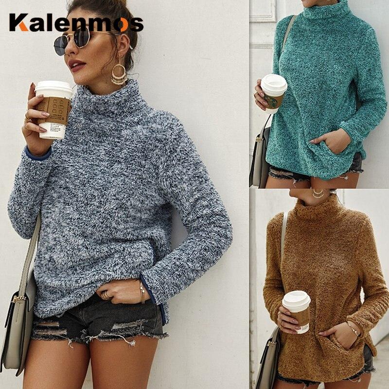 Turtleneck Sweatshirt Women Autumn Winter Clothes Long Sleeve Pocket Original Design Pullover Warm Fashion Hoodies Casual Top