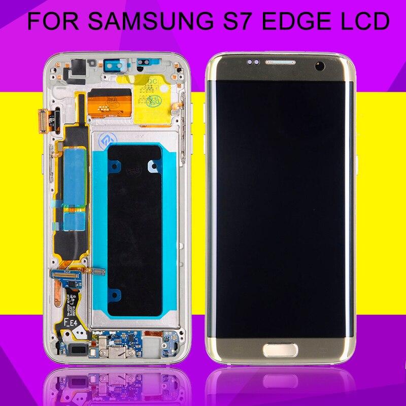 HH 1 pièces Super Amoled pour Samsung Galaxy S7 bord écran Lcd G935F G935 affichage tactile numériseur assemblée avec cadre livraison gratuite