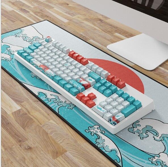 108 key OEM PBT  Set Keycap Dye Sublimation Ukiyo e Japan Manga Mouse Pad For GK61 Cherry MX Switches Mechanical Keyboar