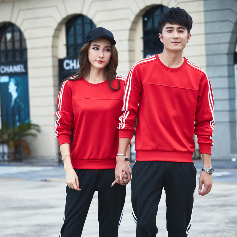Sports Set Men's Spring And Autumn Long-sleeved Pullover Sports Leisure Suit Couple Clothes High School Uniform Sports Clothing