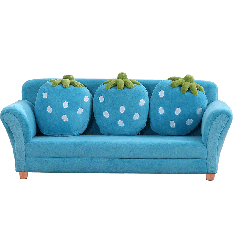 Cartoon Lovely Blue Strawberry Baby Sofa Kindergarten Group Close Sofa Solid Wood Baby Furniture Zitzak Bean Bag Three Seat