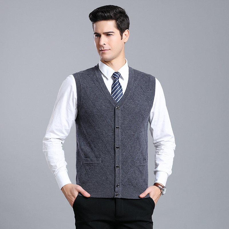 MACROSEA British Style Design Men's Formal Casual Sleeveless Wool Cardigan High Quality Male Knitting Wool Sweatercoat 9067
