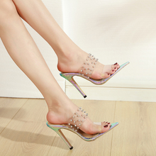 Купить с кэшбэком Transparent Slippers New Outdoor Pointed Toe Slippers Ladies Fashion thin Heels Beading Casual Slippers with rivet LJA932