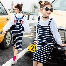 Primavera outono nova moda adolescente vestido listrado criança roupas casuais meninas crianças 3-10yrs