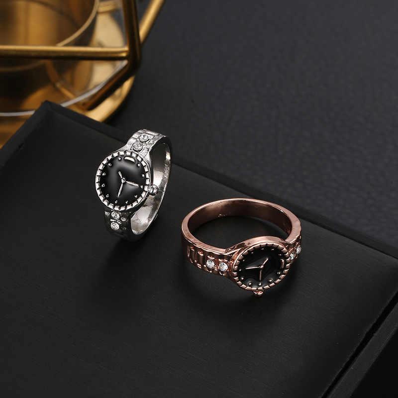 Nouveau créatif minimaliste or argent couleur bague montre cristal Femme anneaux cadeau de noël pour les femmes fille bijoux bagues