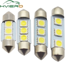 цена на 10X White C5W C10W 5050 SMD 3Led 36mm 39mm 41mm DC 12V Auto LED Festoon Dome Light Door light Reading Lamp Tail Bulb backup Led