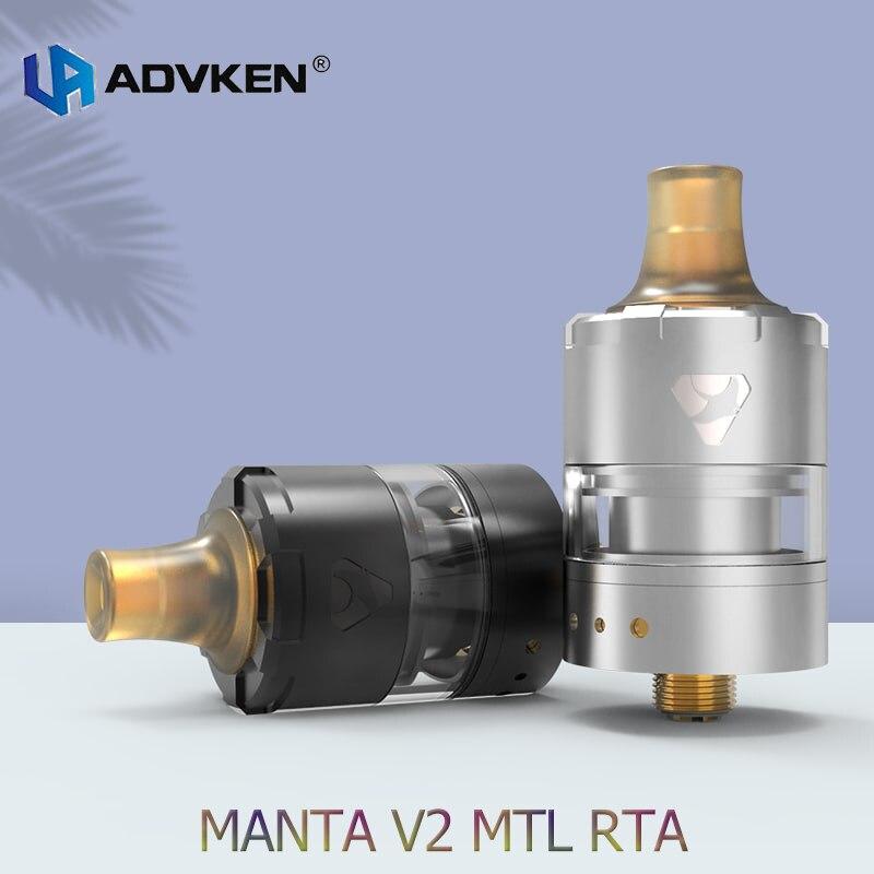 Advken Manta V2 MTL 22MM RTA 2ml Capacity Rebuildable Tank PEI Drip Tip Vaporizer Vape Atomizer Fit 510 E Cigarette Box Mod
