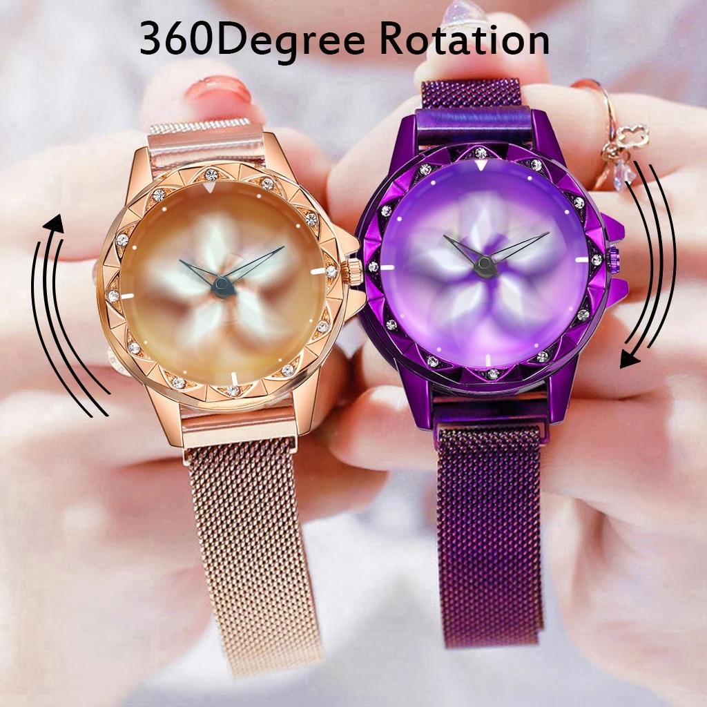 Vansvar montre Quartz femme boucle aimantée femme horloge acier inoxydable fleur Rotation Relax montre femme horloge zegarek damski