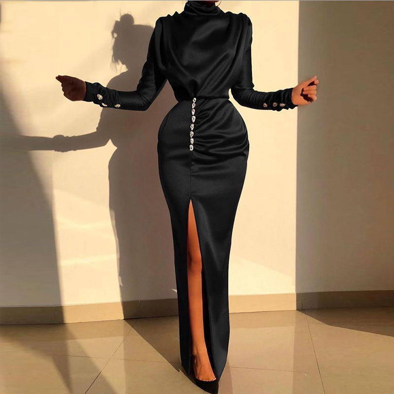 Women Sexy Splits Long Sleeve Maxi Dress High Neck Ruched Thigh Slit Satin Dresses Elegant Buttoned Sleeve Robe Femme