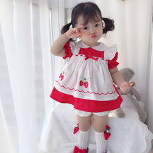 Custom-made Baby Girl VTG Vintage Dress Embroidered Strawberry Dress Lovely Girls Dress Summer 2020 Girl Casual Children Sets(China)