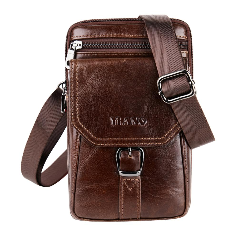 AIZHIYI Genuine Leather Men Phone Pouch Shoulder Messenger Crossbody Bags Men's Casual Bum Hip Belt Waist Bag Fanny Pack