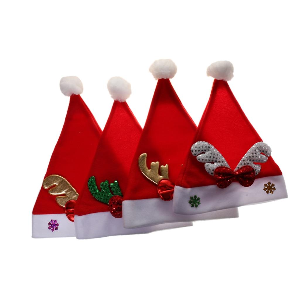 4pcs Christmas Hat Child Kid Boys Girls Santa Xmas Party DressUp Holiday Accessories