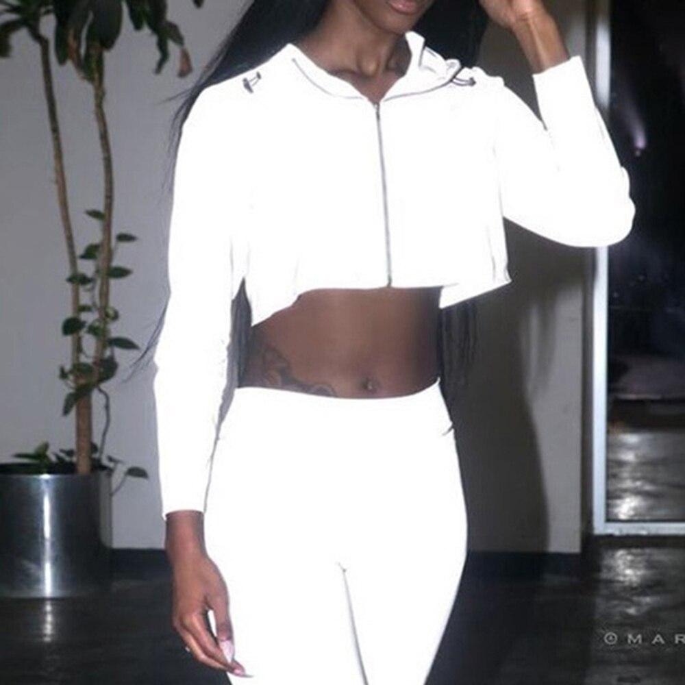 Casual Sport Hooded Short Coat Women Crop Top 2019 Autumn Reflective Female Jacket Casaco Feminino Sudadera Female Streetwears in Hoodies amp Sweatshirts from Women 39 s Clothing