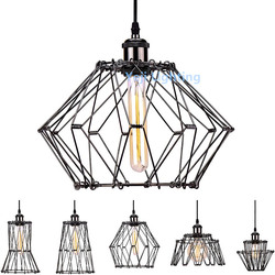 E27 Edison Wire Cage Pendant Light Industrial Vintage chandelier Adjustable Shape Metal Hanging Light Guard Cage Ceiling Light