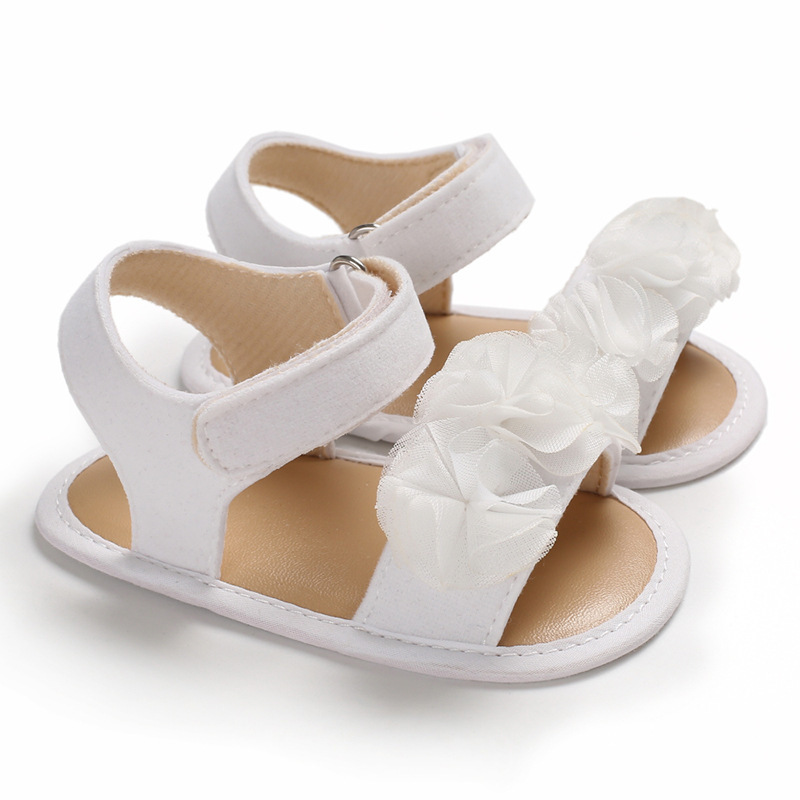 Baby Shoes Girl Sandals Soft Anti-Slip Sole Princess White Embroider Summer First Walker Infant Toddler Crib Shoes Sandals