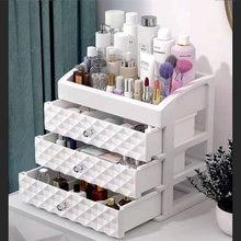 Cosméticos caixa de armazenamento três camadas gaveta maquiagem acessórios organizador desktop batom recipiente de óleo do prego cosméticos caixa de beleza
