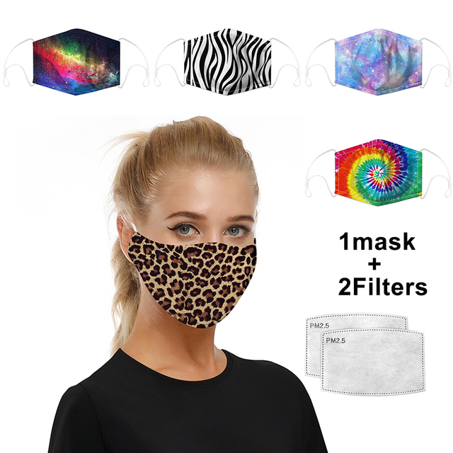 2020 Reusable Color Printing Face Masks PM2.5 Activated Filter Anti dust Mouth Mask Anti-fog  proof Flu Washable Mask Leopard