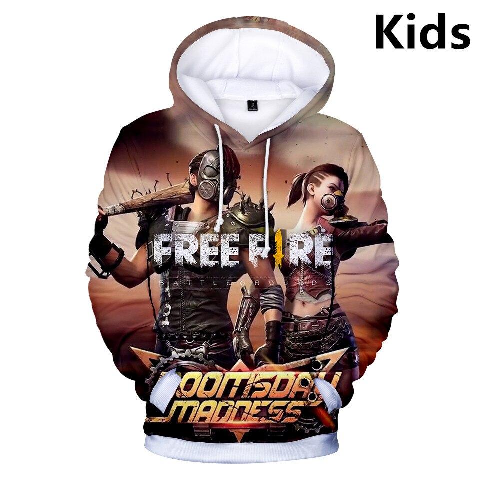 2 To 13 Years Kids Hoodies Free Fire 3D Printed Boys Girls Hoodie Sweatshirt Cartoon Long Sleeve Jacket Tops Teen Clothes