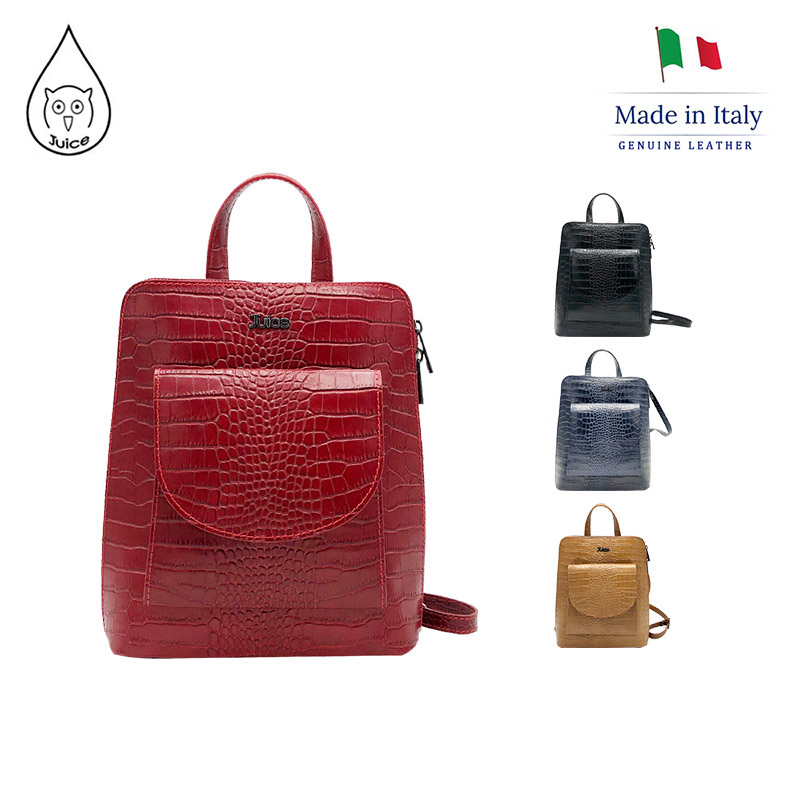 JUICE 2019,made In Italy, Genuine Leather Of Toscana, Lichee Pattern, Crossbody Bag, 112171
