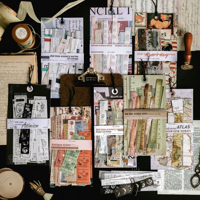 Journamm 30pcs Retro Plant Ticket Bill Ins Sstyle Washi Paper Sticky Journal Deco Planner Stationery Scrapbooking Stickers Set