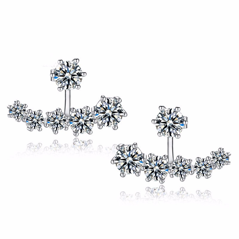 925-Sterling-Silver Jewelry Earring Zircon Crystal Women Fashion CZ Wedding For Party