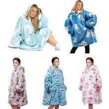 Zimowa Sofa TV koc ciepła bluza z kapturem pluszowy koc bluza z nadrukiem z kapturem pluszowa kurtka ciepły koc z kapturem poręczny koc tanie tanio CN (pochodzenie) Other PRINTED Wearable blanket Pościel