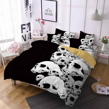 2/3Pcs Black Duvet Cover Set AU/EU/US Size Soft Sugar Skull Bedding Set 3D White Skull Print Microfiber Bed Linen Set Pillowcase 1