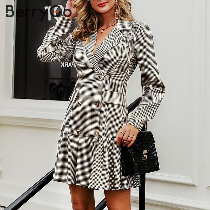 BerryGo Vintage Plaid Office Dress Ladies Double Breasted Pleated Blazer Dress Women Long Sleeve Autumn Outerwear Party Dresses