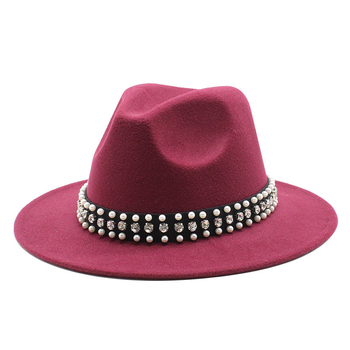 Women men Wool Jazz Fedora Hats Casual Men Women Pearl ribbon Brim Felt Hat white pink yellow Panama Trilby Formal Party Cap