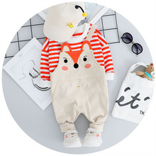 Toddler 0-4T Newborn Baby Boy Girl Clothes New Autumn Outfits Long Sleeve Stripe Print Top+Cartoon Strap Trousers Casual Sets #m недорого