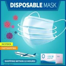 Snelle Levering 100/200 Stuks 3 Layer Wegwerp Masker Dagelijkse Stof Vervuiling Beschermende Mond Masker Veiligheid Elastische Oorhaakje Gezicht masker