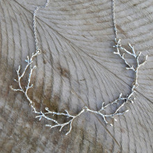 Forest Jewelry Necklace Witch Antler Wiccan Fantasy Statement Gothic Fashion Silver-Plated