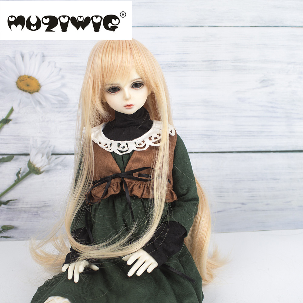 Muziwig 1/<font><b>8</b></font> lovely doll <font><b>wig</b></font> yellow curly doll hair fit for 22-24cm head Circumference doll image
