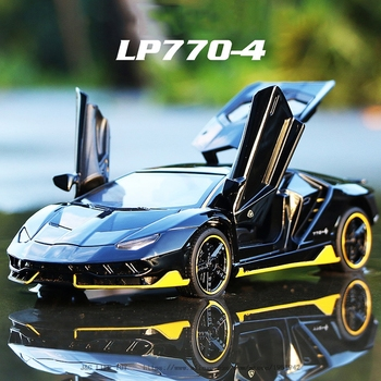 LP770 1:32 Car Alloy Sports Car Model Diecast Sound Light Super Racing Lifting Tail Car Wheels Toys For Children Christmas gift