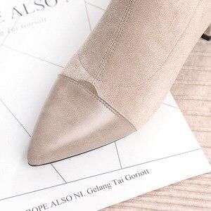 Image 4 - (Brak w magazynie!) Buty damskie buty do kostek szpilki welurowe z ostrym czubkiem na kwadratowym obcasie zimowe pluszowe botki kobieta Slip On Martin buty
