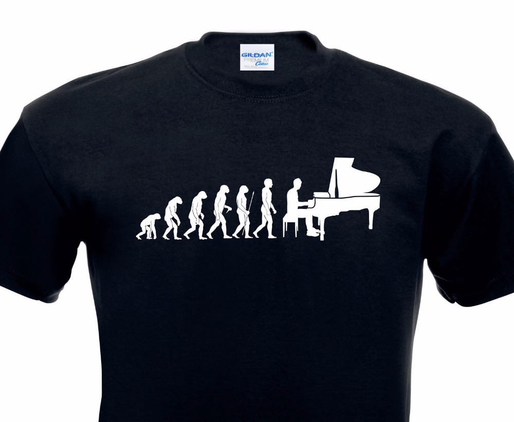 Men T Shirt Fashion Mens Tee Shirts evolution T-Shirt Pianist Piano Klavier Instrument Hobby Komponist Shirts image
