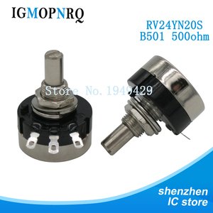 2PCS RV24YN20S RV24YN20S-B501 500 ohm Potentiometer RV24YN 501 500R Single Coil Carbon Film Potentiometer(China)