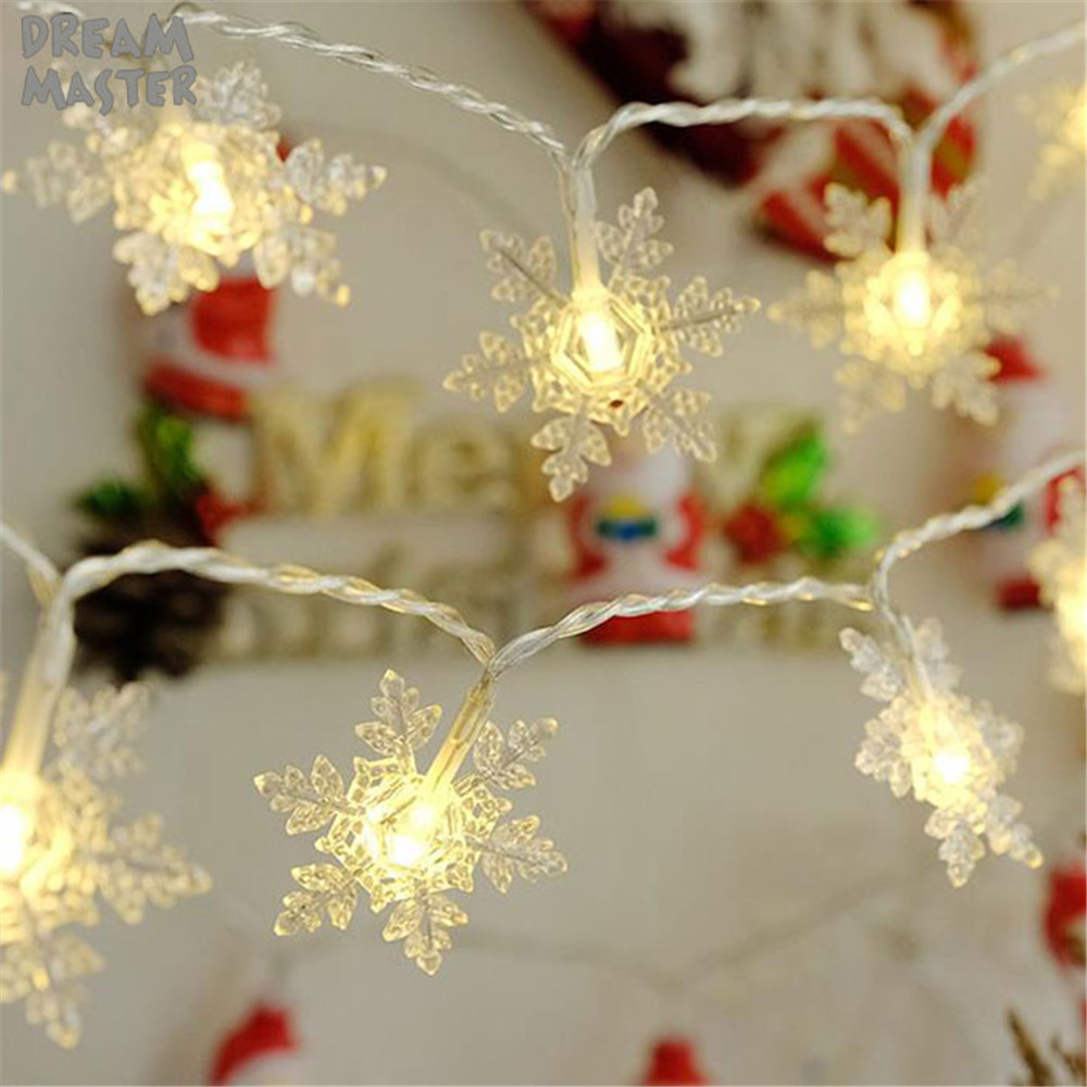 LED Snowflake String Lights Snow Fairy Garland Decor For Christmas Tree New Year Room Valentine's Day Battery Warm White Lamp