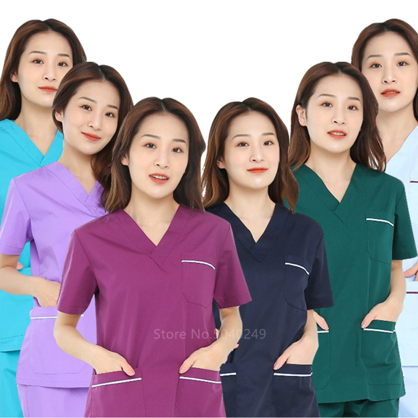 Adult  Medical Uniforms Women Nurse Scrubs Suit Short-sleeve Cotton Surgical Clothing Beauty Salon Workwear Clothes Tops Pants