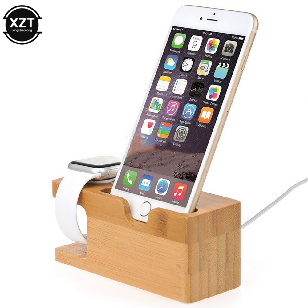 Новая зарядная док станция с бамбуковым основанием, Держатель зарядного устройства для Apple Watch iWatch 5/4/3/2 iPhone 11X8 pro, Бамбуковая|Подставки и держатели| | АлиЭкспресс