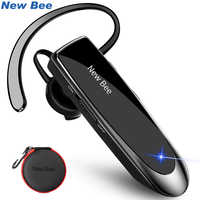 New Bee Bluetooth Earphone V5.0 Earpiece 24H Talk Time Wireless Handsfree Headset With Noise Cancelling Mic and Carry Case