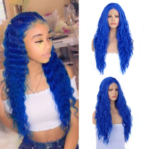 Charisma Blue wigs Long Curly Wig Middle Part Synthetic Wigs for Women Heat Resistant Hair Synthetic Lace Front Wig for Women